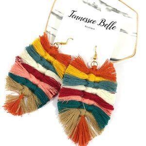 Macramé Tassel Rainbow Statement Earrings